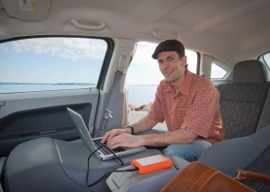 Eric in his mobile office.