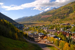 telluride mountain fall colors yellow aspen colorado road town san juan scenic highway