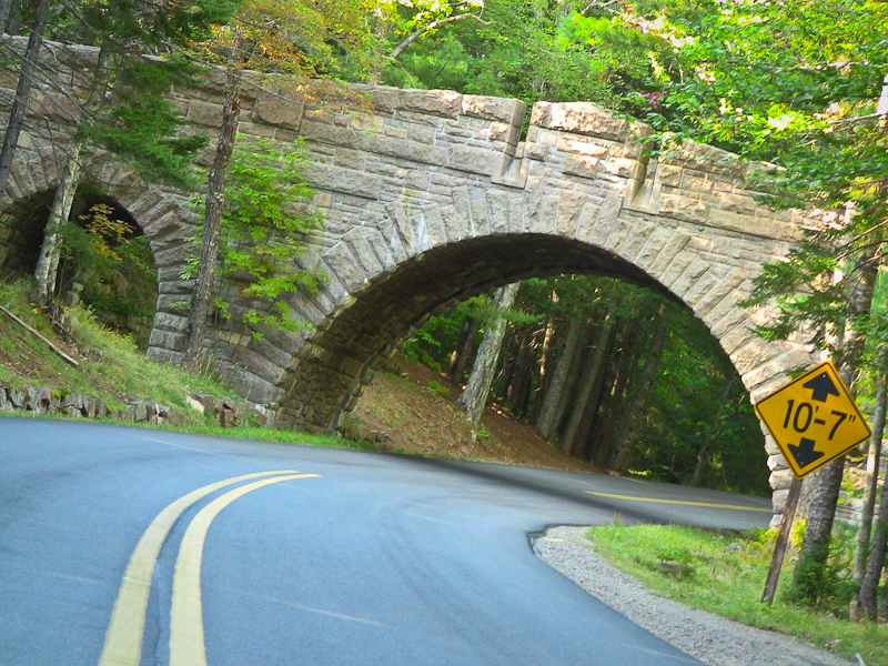 Road carriage highway maine acadia national park curve fun bridge stone historic