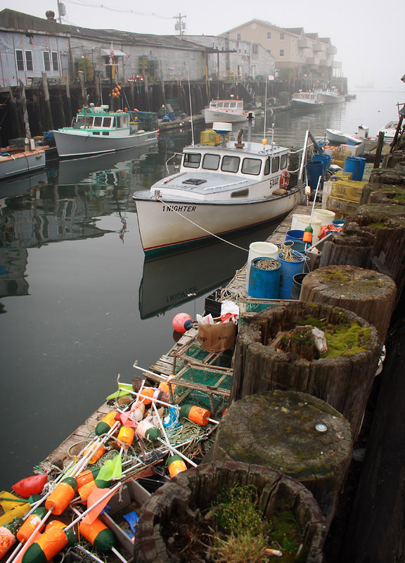 maine portland photography lobster boat fog ocean coast buoys fishing market warf