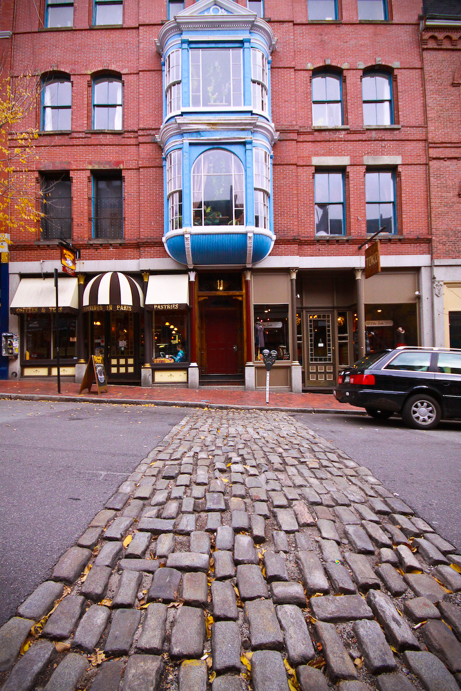 portland maine cobblestone street coast old port downtown building historic photography