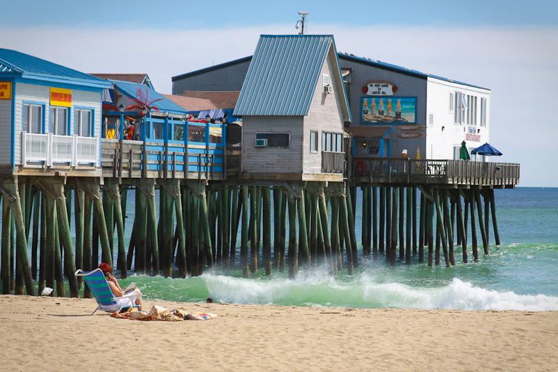 old orchard beach maine coast ocean atlantic waves sand tourist scenic prisitne