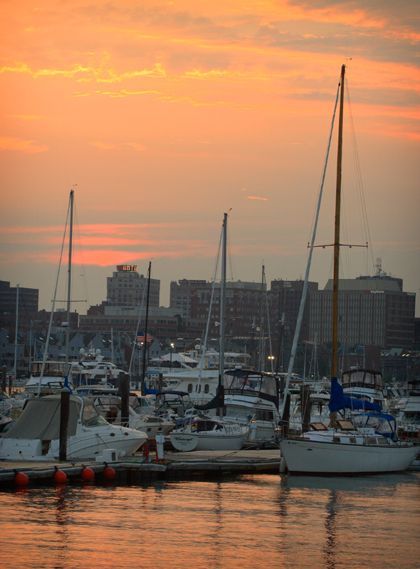 time and temp, building, sunset, maine, portland, harbor, atlantic, sail, sailboat, skyline