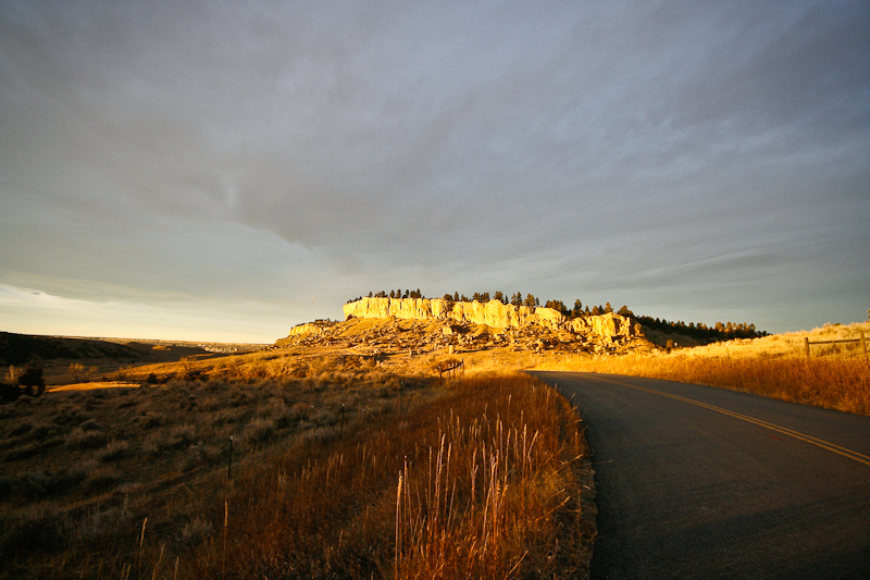 BILLINGS MONTANA mt pictograph cave state park sunset clouds sky scenic scenery road cliffs big sky