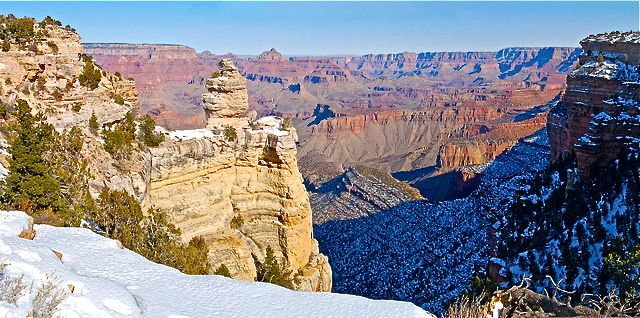 grand canyon nps national park snow desert winter sunrise blue sky roadtrip adventure