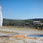 Beehive Geyser Erupting Near Old Faithful Inn