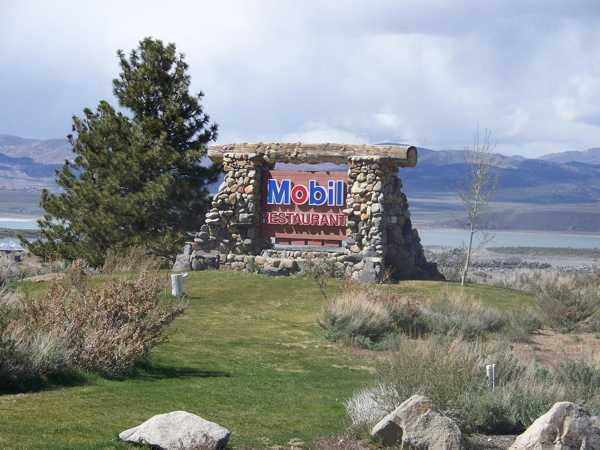 Tioga Gas and Whoa Nellie Deli sign mono lake california