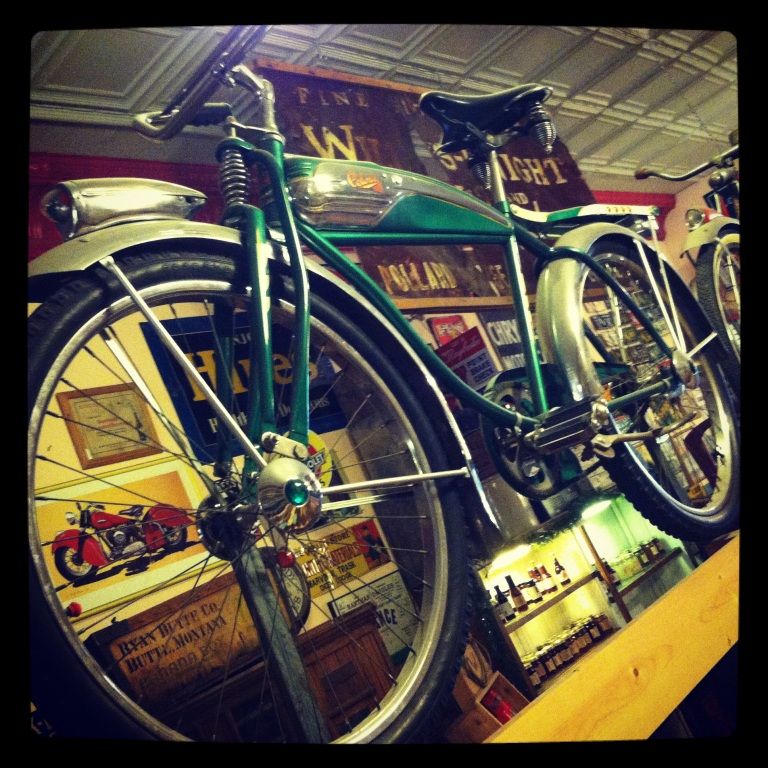 Antique bike gives the Red Lodge Candy Emporium some ambiance. Red Lodge, MT