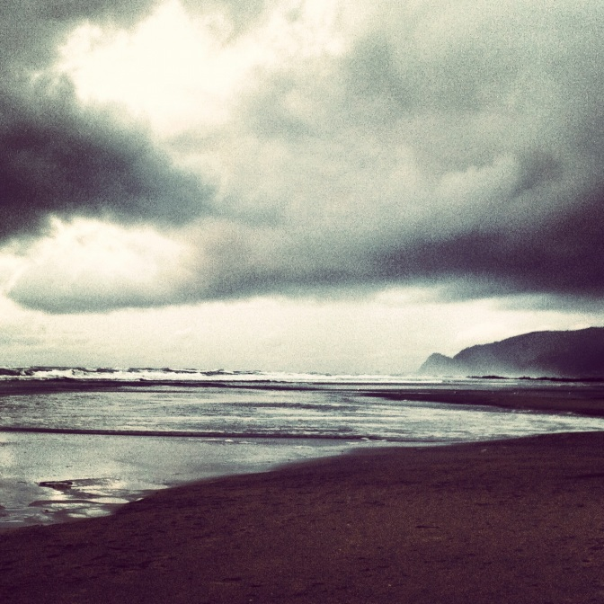 Winter storm clouds over the Oregon Coast