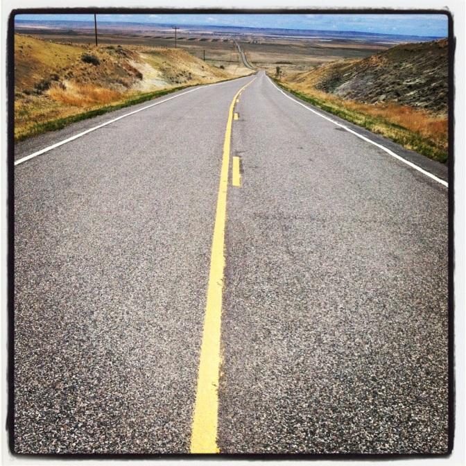 Lonely road heading to Rapelje, MT