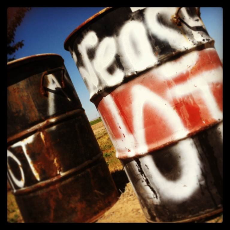 Hot grease barrels outside of a wine and BBQ festival near Kennewick, WA