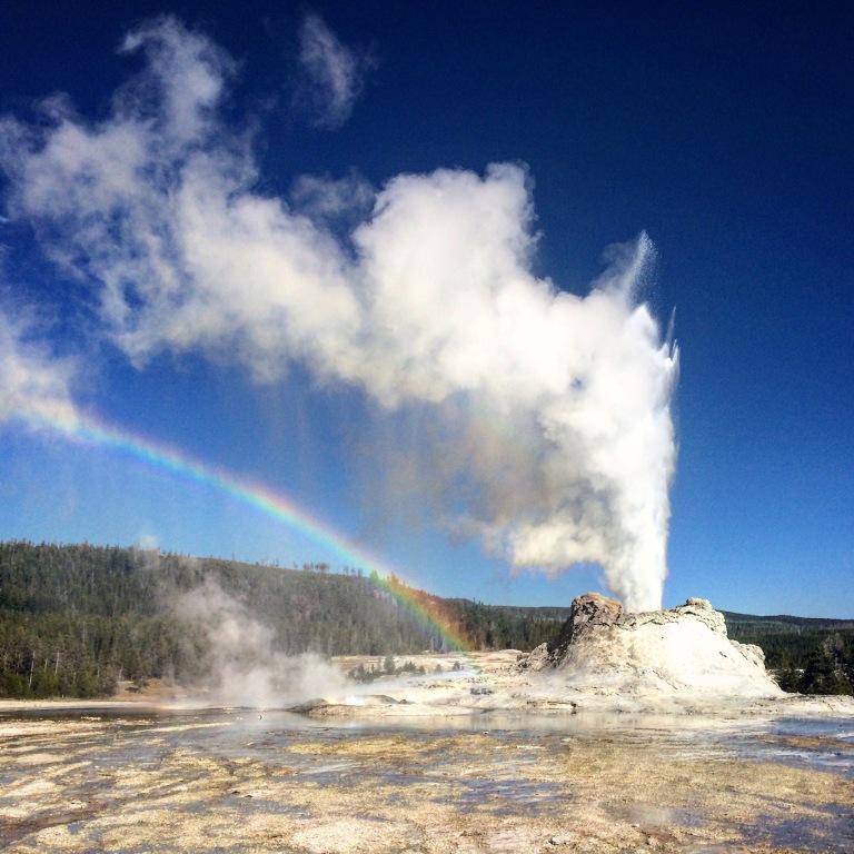 castle geyser near old faithful, yellowstone national park,