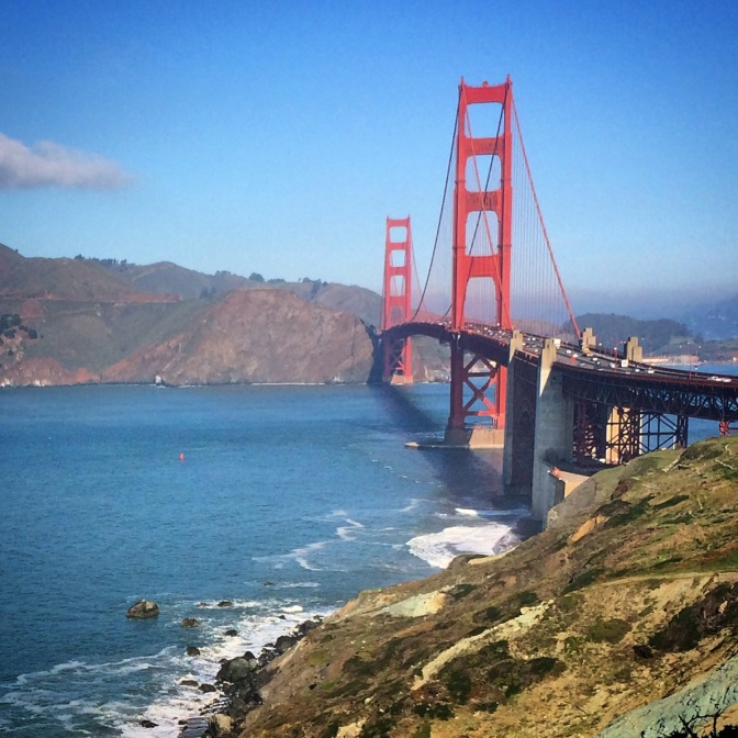 Blue sky over the Golden Gate Bridge, San Francisco, California.