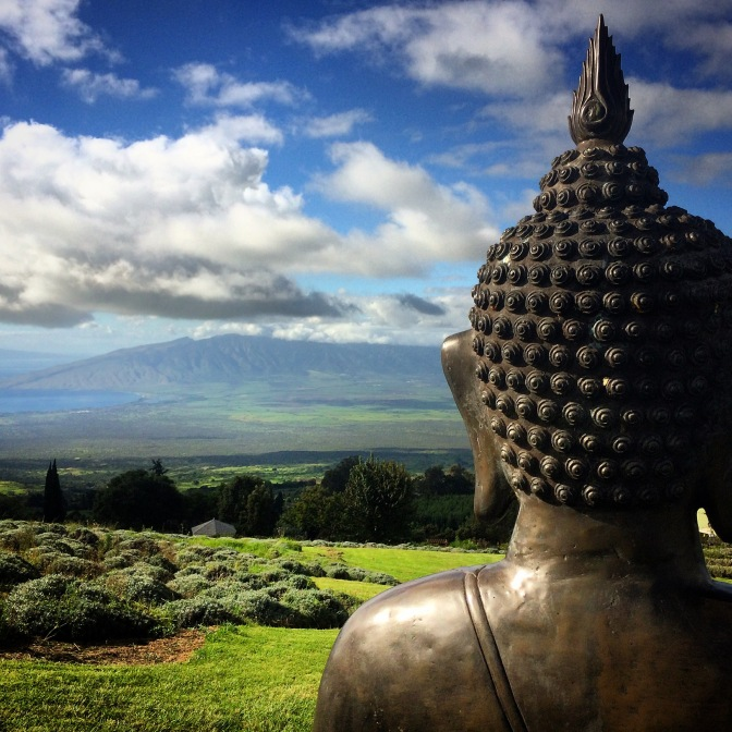 Ali'i Kula Lavender Farm Buddha looking across to the West Maui Mountains, Hawaii