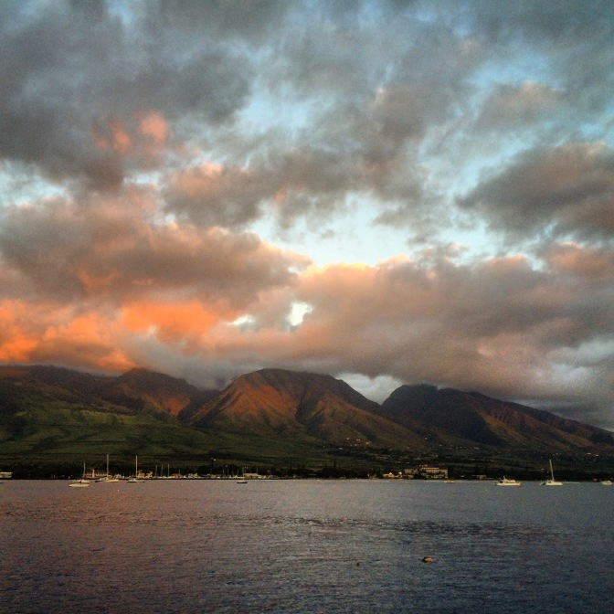 Sunset on the West Maui Mountains from Lahaina, Hawaii